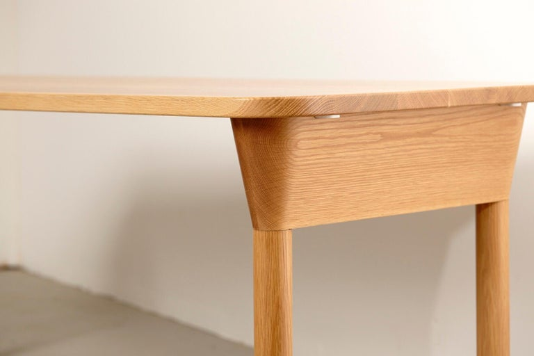 """Lacquered """"Column Table"""" Minimalist Solid Wood Oak Dining Table or Desk For Sale"""