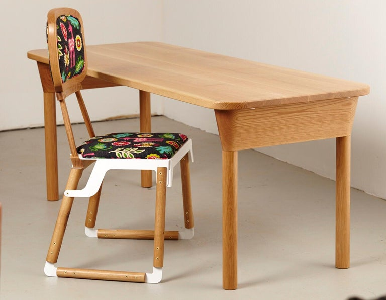 """""""Column Table"""" Minimalist Solid Wood Oak Dining Table or Desk In New Condition For Sale In Brooklyn, NY"""
