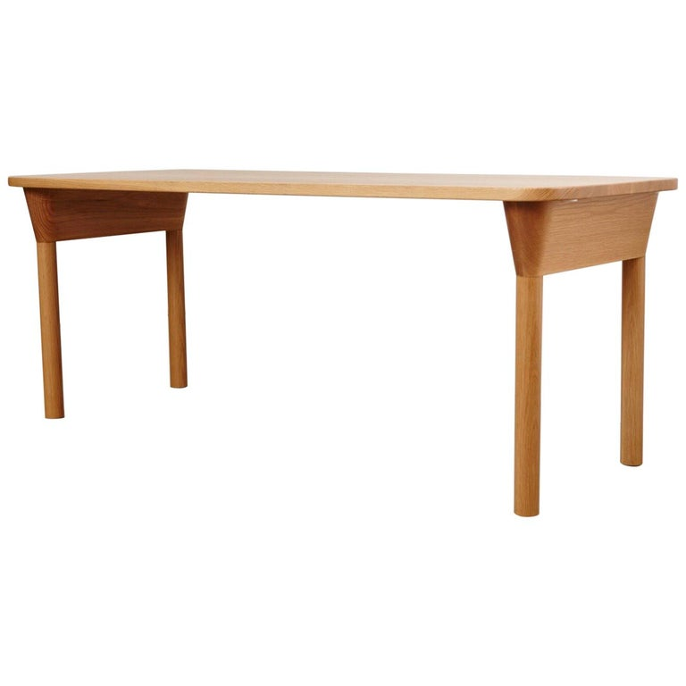 """""""Column Table"""" Minimalist Solid Wood Oak Dining Table or Desk For Sale"""