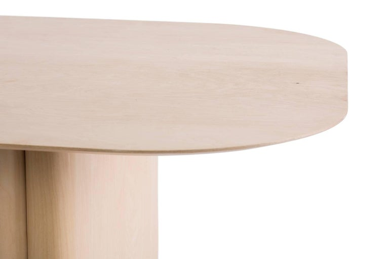 Modern Column Table, Rectangular by BlackTable Studio in Oiled Ashwood For Sale