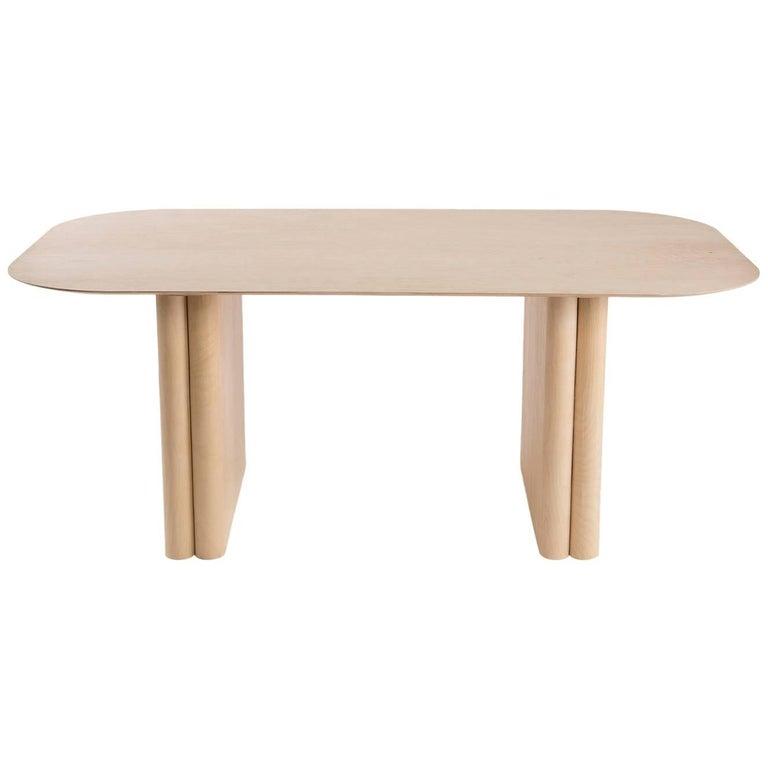 Column Table, Rectangular by BlackTable Studio in Oiled Ashwood For Sale