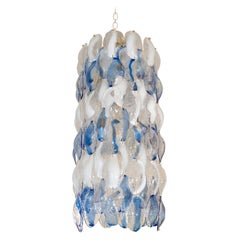Columnar Chandelier Composed of White, Clear and Cobalt Blue Glass by Mazzega