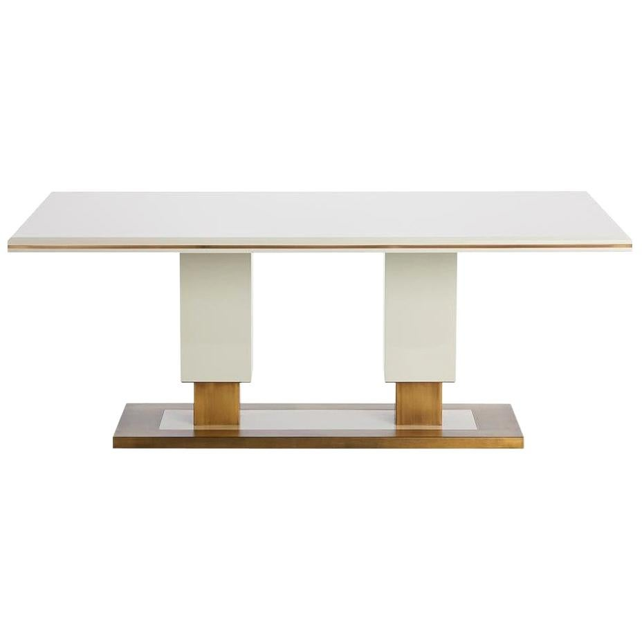 Coluna Dining Table Glossy Lacquered with Antique Brass Details