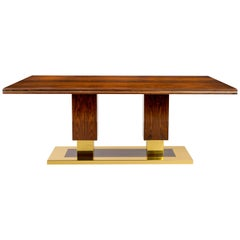 Coluna Dining Table in Indian Palissander and Antique Brass Details