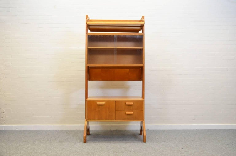 Midcentury beech room divider made from the Combex series (model BB06) by Cees Braakman. Mostly seen as a wall cabinet but this model is designed as room divider with cabinets and shelves which can be used on both sides. Marked 'Pastoe' on the