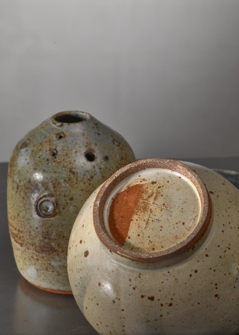 Mid-Century Modern Combination of Franco Agnese Ceramic Pieces with Ikebana Vase For Sale