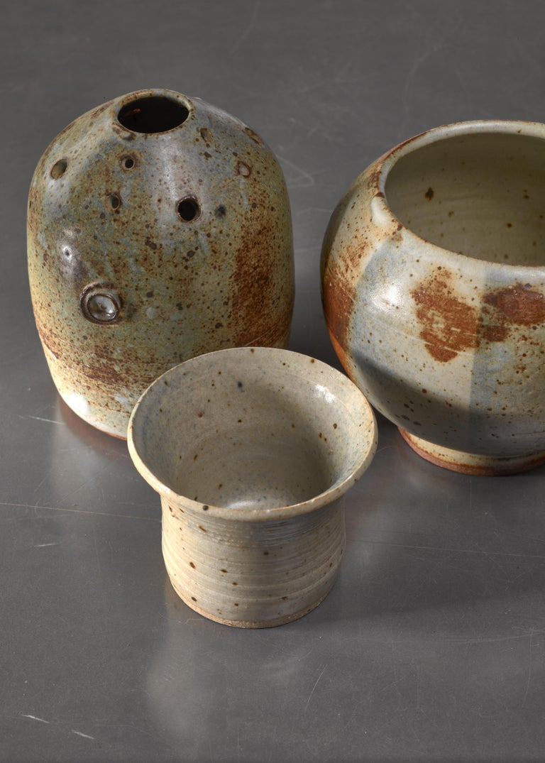 French Combination of Franco Agnese Ceramic Pieces with Ikebana Vase For Sale