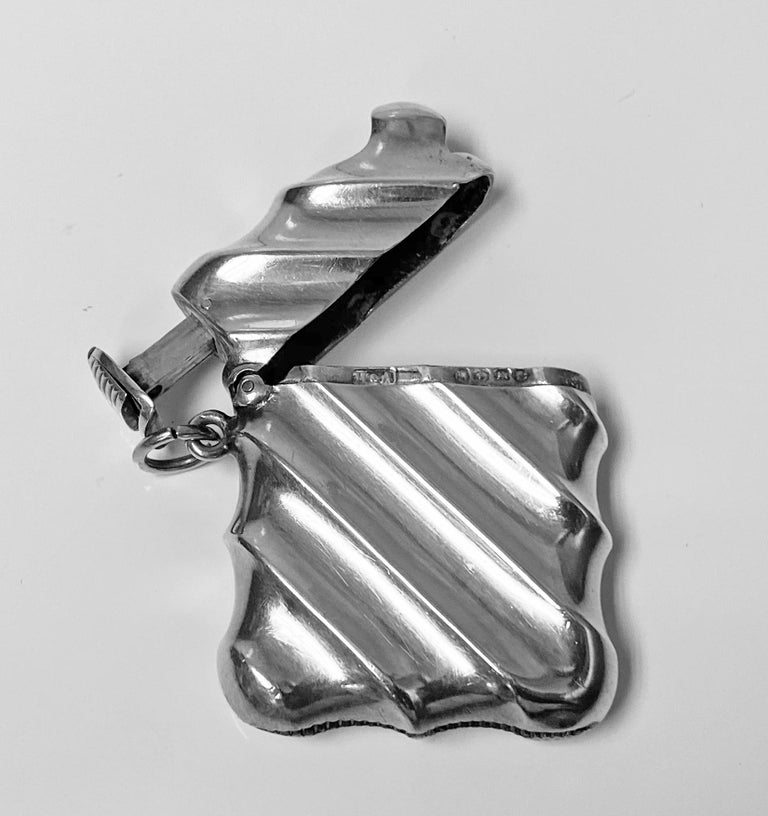 English Combination Silver Vesta Case and Cigar Cutter, Birmingham 1888 Horton & Allday For Sale