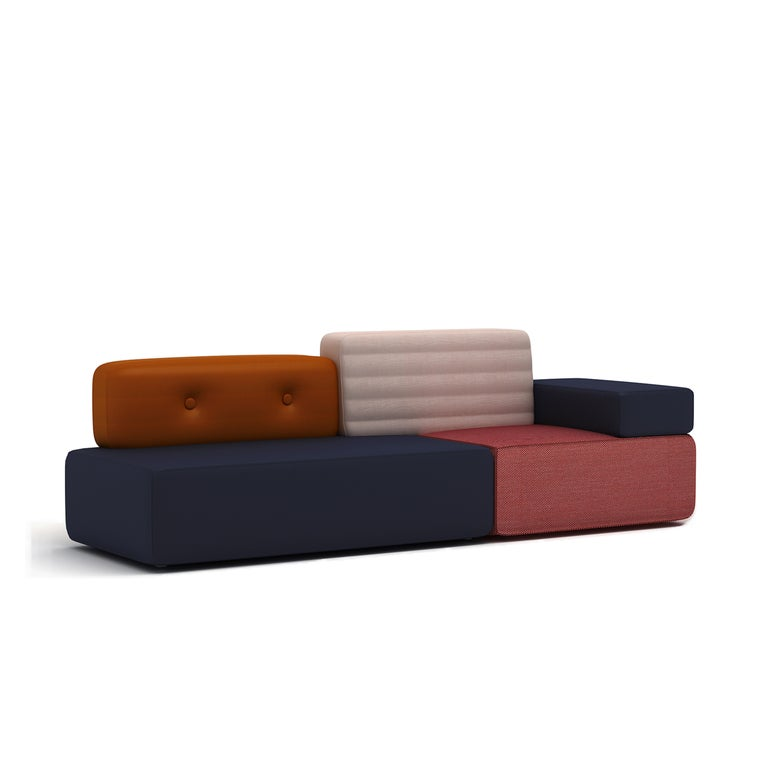 The combo sofa is made with multiple class of fabrics and leather. There are 2 grades of fabrics available with different pricing, samples available upon request:  Production lead time is 60 days. Ship from the designer's studio in Shanghai.  The