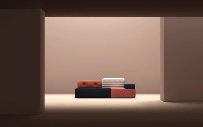 Contemporary Combo Sofa Modular Pink Brown Navy Blue Customizable For Sale