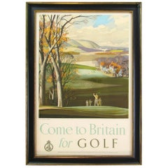 """Come to Britain for Golf"" Vintage Travel Poster, circa 1952"