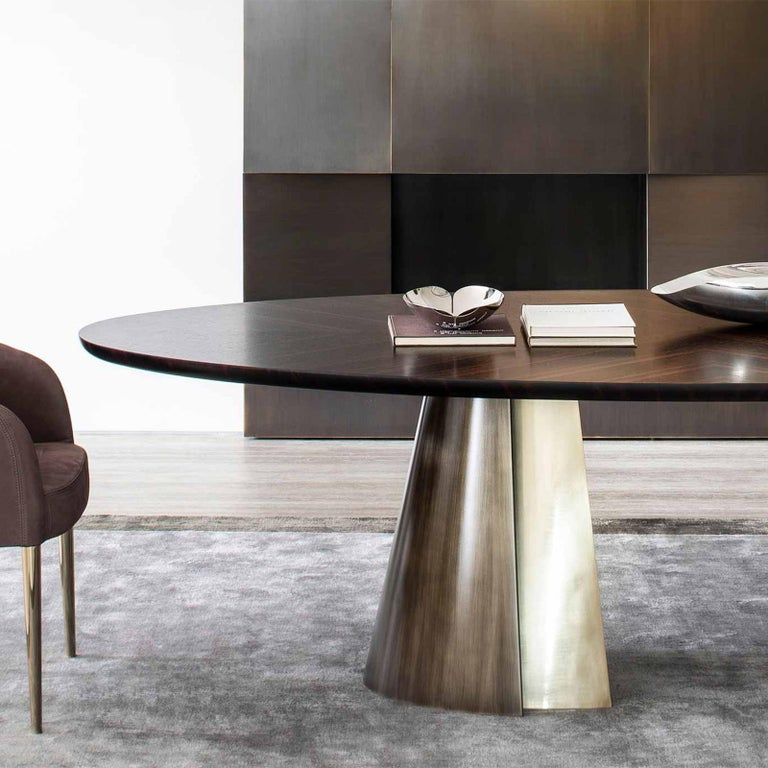 Italian Comet Dining Table with Solid Ebony Top For Sale
