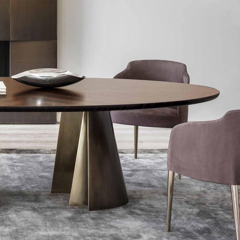 Patinated Comet Dining Table with Solid Ebony Top For Sale