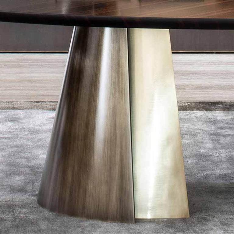Contemporary Comet Dining Table with Solid Ebony Top For Sale
