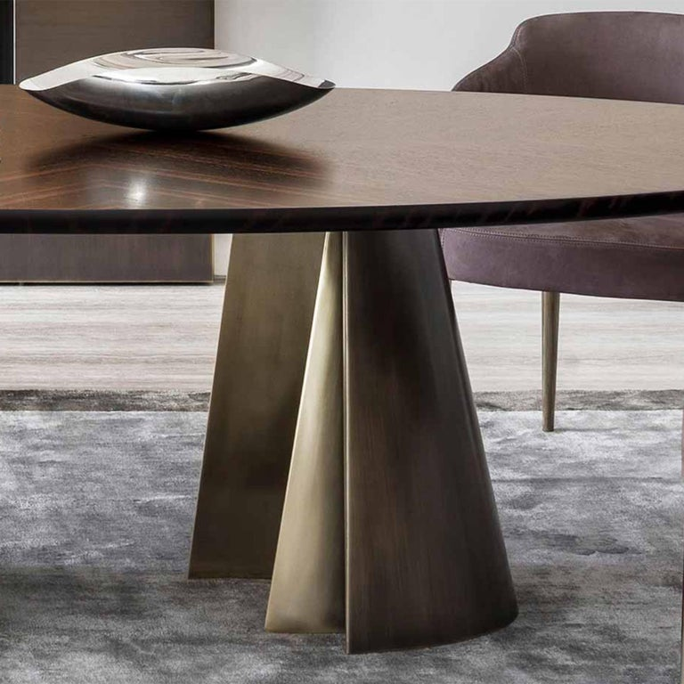 Bronze Comet Dining Table with Solid Ebony Top For Sale