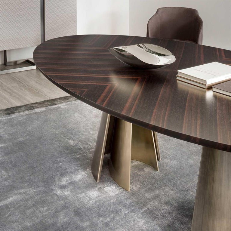 Comet Dining Table with Solid Ebony Top For Sale 1