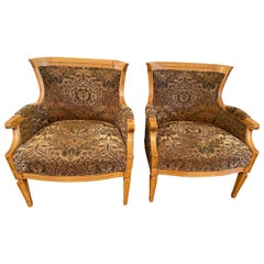 Comfortable and Classical Pair of Birch Bergères