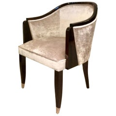 Comfortable Art Deco Style Shell Chair with Fabric Upholstery and Lacquered Wood
