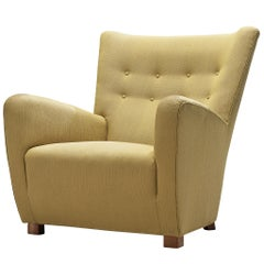 Comfortable Danish Lounge Chair in Fabric Upholstery