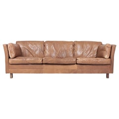 Comfortable Midcentury Sofa in Patinated Leather by Mogens Hansen, Danish Design