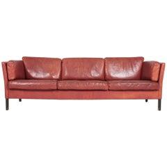 Comfortable Midcentury Sofa in Patinated Leather, Danish Design, 1970s