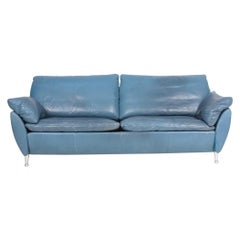Comfortable Modern Design Sofa in Blue Leather by Rolf Benz