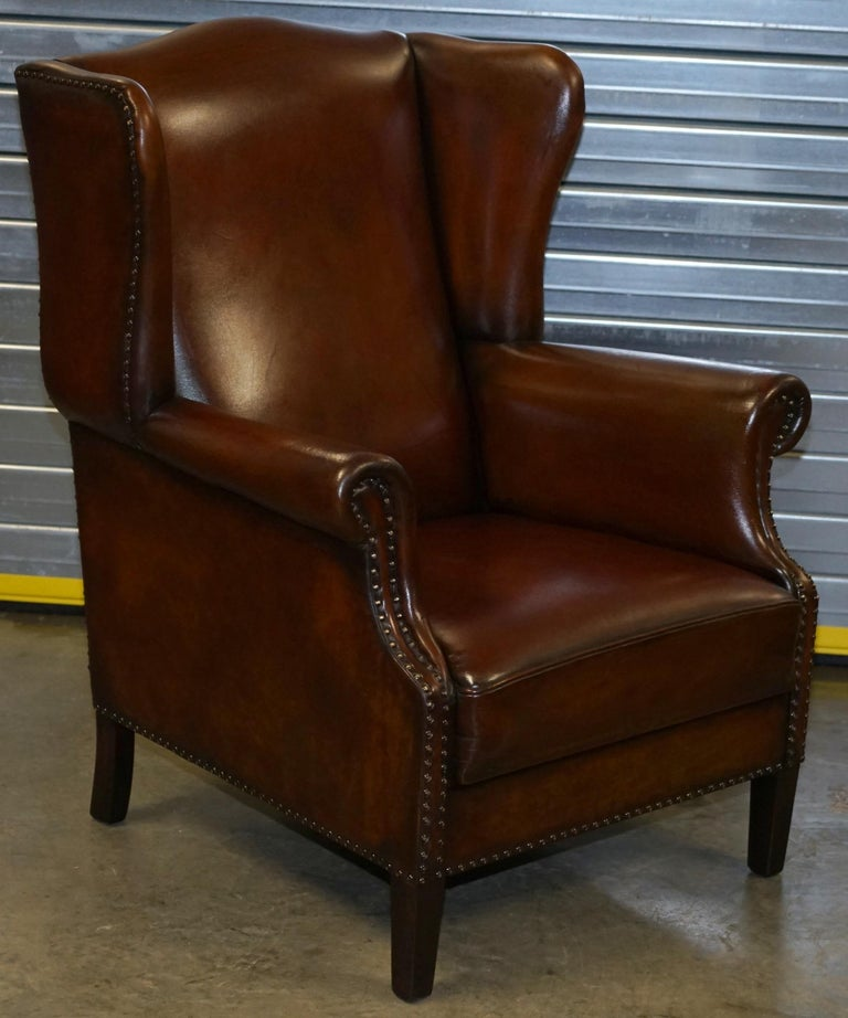 Comfortable Pair of Nice Vintage Restored Wingback Armchairs Cigar Brown Leather For Sale 6