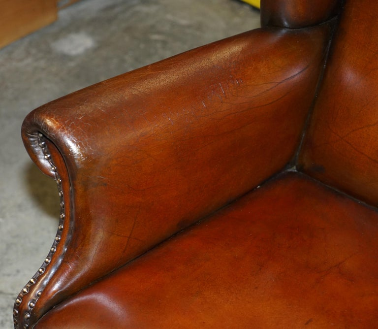 Comfortable Pair of Nice Vintage Restored Wingback Armchairs Cigar Brown Leather For Sale 9