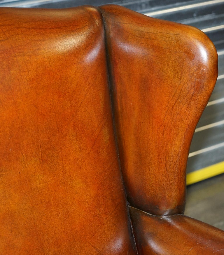 Comfortable Pair of Nice Vintage Restored Wingback Armchairs Cigar Brown Leather For Sale 10