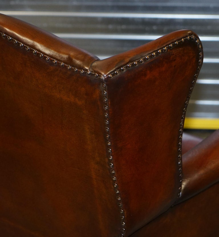 Comfortable Pair of Nice Vintage Restored Wingback Armchairs Cigar Brown Leather For Sale 13
