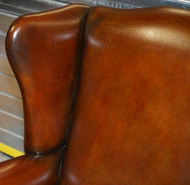 Hand-Crafted Comfortable Pair of Nice Vintage Restored Wingback Armchairs Cigar Brown Leather For Sale