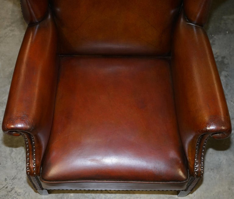 Comfortable Pair of Nice Vintage Restored Wingback Armchairs Cigar Brown Leather In Good Condition For Sale In London, GB