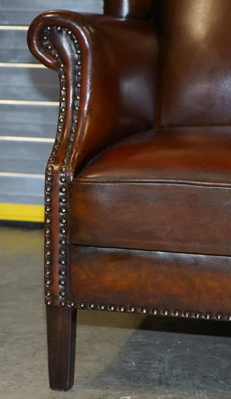 Comfortable Pair of Nice Vintage Restored Wingback Armchairs Cigar Brown Leather For Sale 1