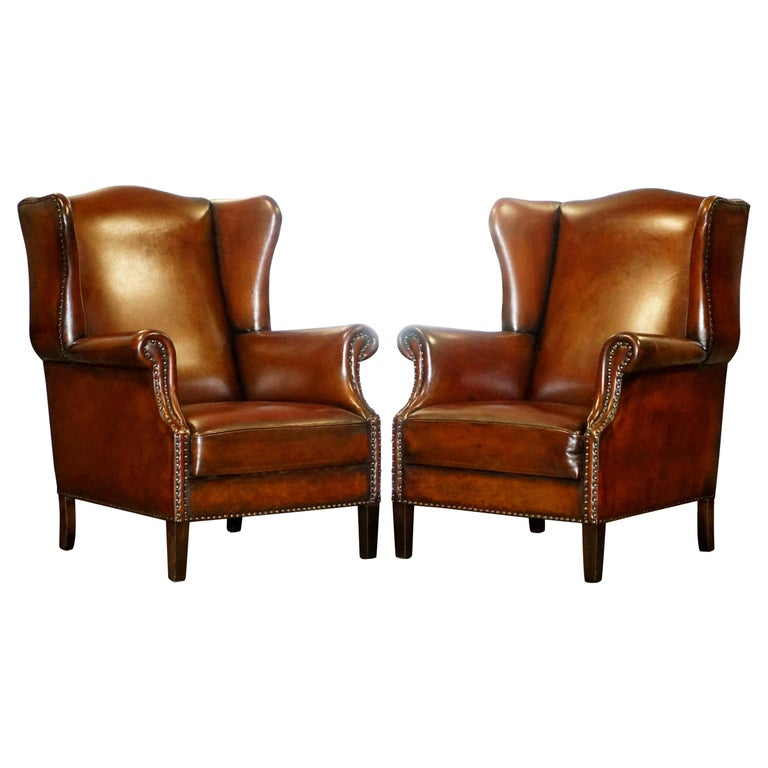 Comfortable Pair of Nice Vintage Restored Wingback Armchairs Cigar Brown Leather For Sale