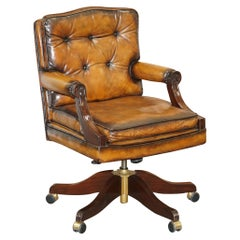 Comfortable Restored Hand Dyed Whisky Brown Leather Directors Captains Chair