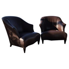 Comfy Pair of Brown Leather Lounging Armchairs Art Deco Jacques Adnet Style