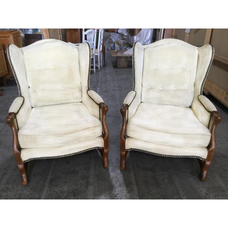 Louis XIV Comfy Pair of French Oak Newly Upholstered Bergere Chairs For Sale