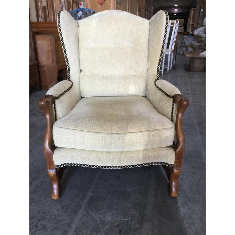 Comfy Pair of French Oak Newly Upholstered Bergere Chairs In Excellent Condition For Sale In Hopewell, NJ