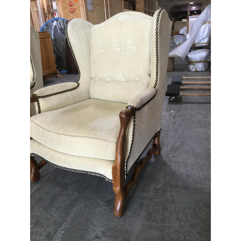 Mid-20th Century Comfy Pair of French Oak Newly Upholstered Bergere Chairs For Sale