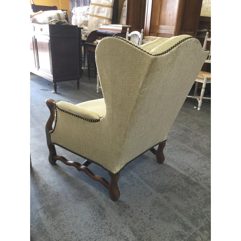 Comfy Pair of French Oak Newly Upholstered Bergere Chairs For Sale 1