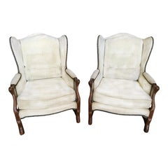 Comfy Pair of French Oak Newly Upholstered Bergere Chairs