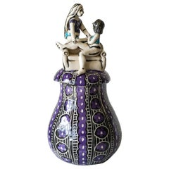 Coming Home, Porcelain Sculptural Jar with Underglaze Sgraffito Detailing