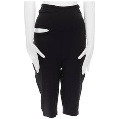 COMME DES GARCONS 1990 black nylon blend cut out high waisted jersey shorts S