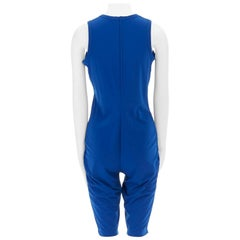 COMME DES GARCONS 1990 cobalt blue polyester sleeveless romper jumpsuit M