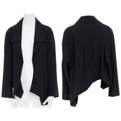 COMME DES GARCONS 1996 black wool asymmetric volume cut boxy blazer jacket S