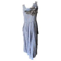 Comme des Garcons 1999 Gingham Cotton Dress with Gingham Floral Rosettes