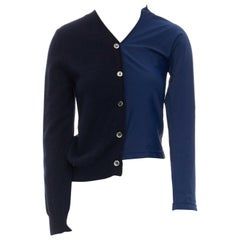COMME DES GARCONS 2007 navy blue wool polyester hybrid deconstructed cardigan S