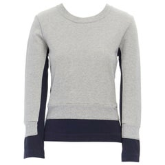 COMME DES GARCONS 2010 cotton grey navy cotton layered effect sweater top S