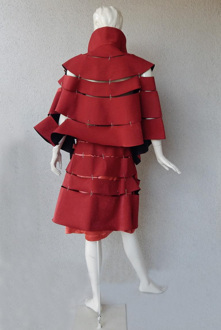 Comme des Garcons 2015 Roses & Blood Explosive Poppy Red Safety-Pin Cape & Skirt For Sale 1