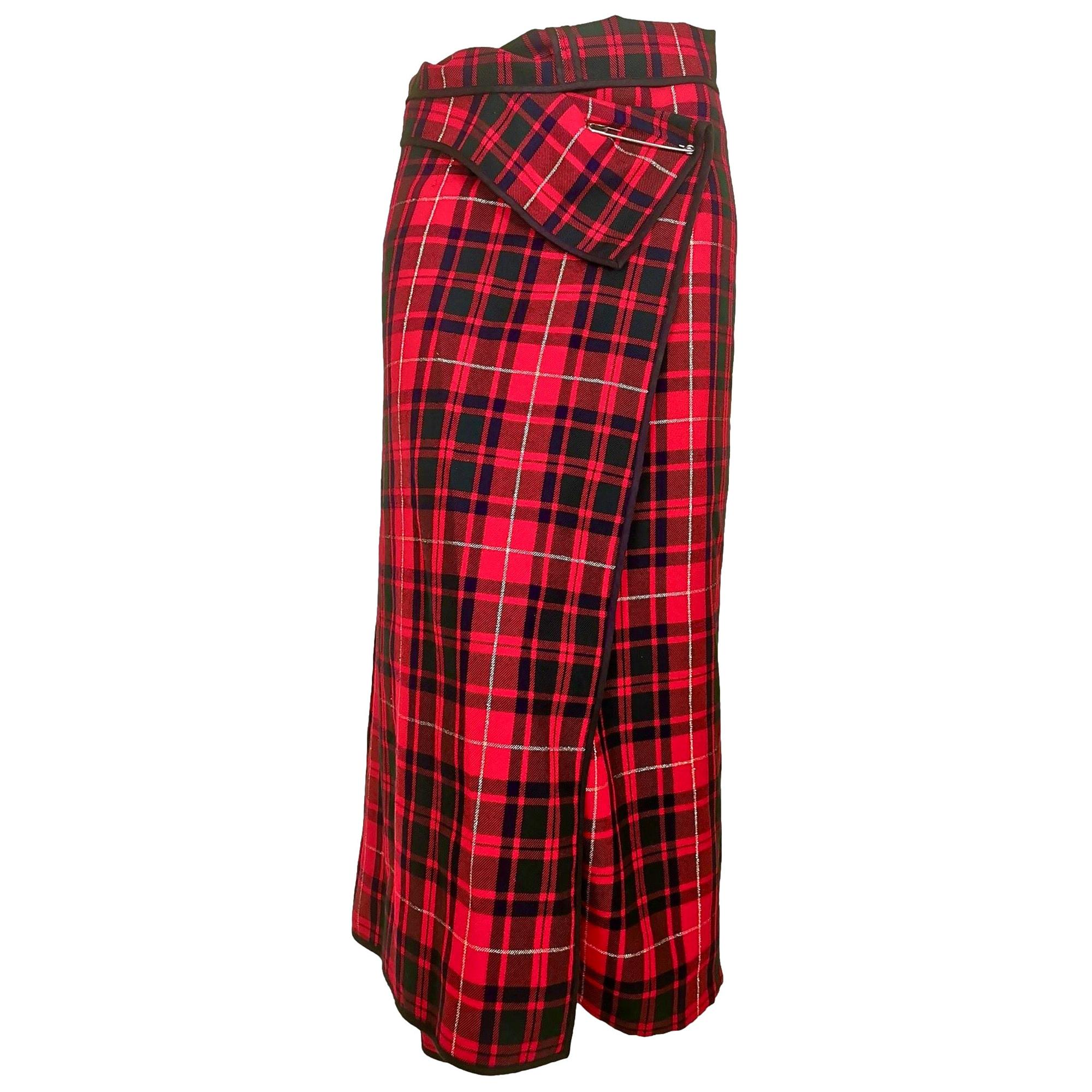 Comme des Garcons AD 1996 Red Tartan with Gold Thread Wrap Around Trouser/Skirt